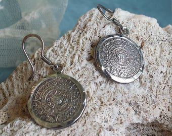Sterling silver Aztec calendar drop earrings