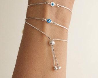 Evil eye adjustable bracelet  -sterling silver -  tiny evil eye bracelet - mini evil eye - protection bracelet -