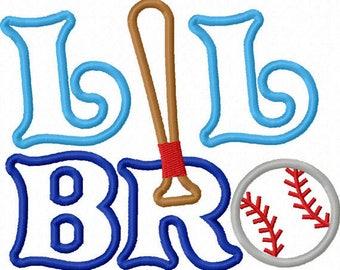 Personalized Baseball Softball Lil Bro Monogram Applique Shirt or Onesie Girl Boy