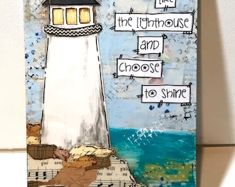 Lighthouse Decor, Lighthouse Gift, Lighthouse Painted Sign, Choose to Shine, New England