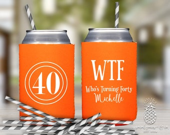 Neoprene Can Coolers | Personalized Can Coolies | Monogram Beer Sleeves | Can Insulator | Birthday Party Favors | WTF 40 | Drink Holder
