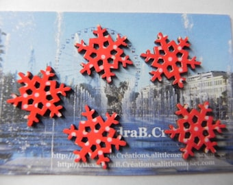 CHRISTMAS! 5 snowflakes 2 cm in red with white polka dots