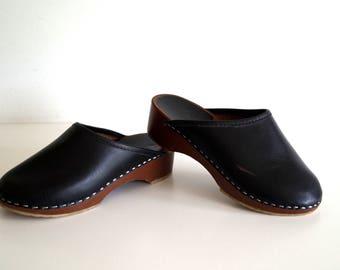 Wood clogs Boho shoes Vintage wooden clogs Eur34 Swedish Rustic girls shoes Open Back Clogs Black shoes Scandinavian Platform Clogs Sandals