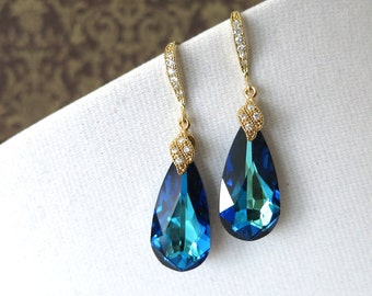 Gold Bridesmaid Bridal Earrings Necklace Jewelry, Swarovski Crystal Bermuda Blue wedding bridal shower gifts idea, something blue Eathelyn