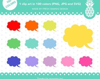 100 Colors Clipart: Speech Bubble #3, Chat Bubble, Comic Cloud, Bubble Clipart, Comic Clipart, Clip Art, Clipart, Planner Clipart, 100 color