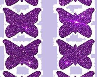 8 Mini Purple Butterfly Nipple & Body Pasties Nipple Covers