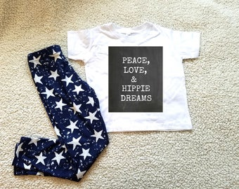 Peace, love, and hippie dreams quote Children's Toddler Tshirt. Sizes 2T, 3t, 4t, 5/6T funny graphic kids shirt gift