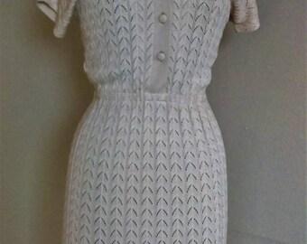 KIMBERLY Pointelle 100% Orlon Acrylic Sweater Dress in Oatmeal