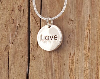 Sterling Silver Love Coin Braille Necklace Valentine Gift Boxed