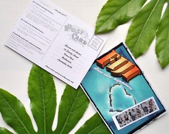 Fun Fiji Personalised Postcard Wedding RSVP Card