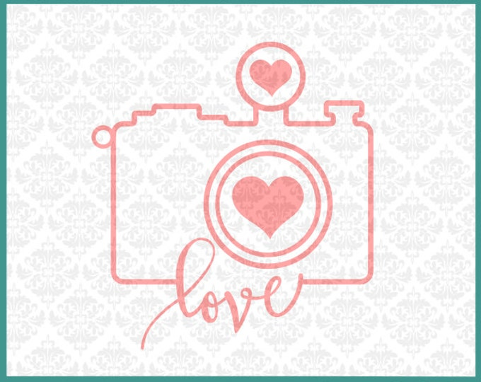 CLN093 Camera Outline Heart Love Photographer Photography SVG DXF Ai Eps PNG Vector Instant Download Commercial Cut File Cricut Silhouette