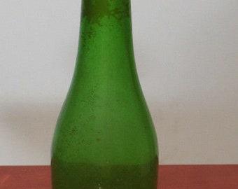 Vintage Aluminum Laundry Sprinkler with cork on Old Green Glass Soda Cola Drink Bottle