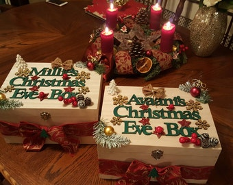 Personalised Christmas Eve Wooden Box For Childern Bespoke Wooden Hamper For Gifts