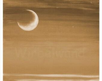 Kunstdruck eines Acrylgemäldes - Flammender Mond (73 x 62 cm) Sepia