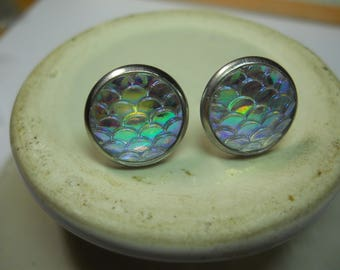 Mermaid Scale Iridescent Post Stud Earrings Stainless Steel Settings and Posts Hypo Allergenic Dragon Scale Jewelry