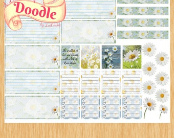 Mini Happy Planner Stickers| Daisy Stickers| Yellow and Blue Stickers| Mini Weekly Sticker Set