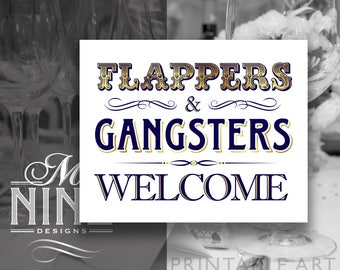 Navy and Gold Party Printable / Flappers & Gangsters Welcome / Party Sign Typography Print, Party Décor, Roaring 20s Party NG46