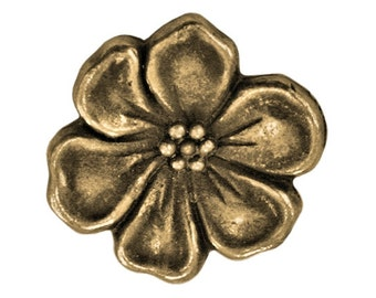 3 TierraCast Apple Blossom 5/8 inch ( 15 mm ) Brass Plated Pewter Buttons
