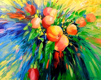 Juicy apples   Apples oil painting art, nature painting, fruit art,original oil art,bouquet art,painting,impressionism,bright