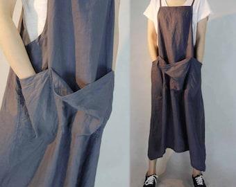 296-Linen Pinafore / Work Apron Dress, Green Overall Dress, Linen Tunic, Plus Size Clothing, Women's Linen Maxi Dress, Maternity.