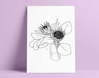 Vase of wild flowers - Art Print [A4 - 21 x 29 cm] By Otto Creative