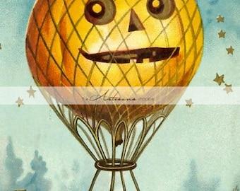 Instant Art Printable Download - Halloween Pumpkin Jack O'Lantern Hot Air Balloon - Paper Crafts Altered Art Scrapbook - Vintage Halloween