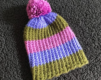 6-12 Months Knit Baby Hat | Striped Baby Hat with Pompom | Colorful Baby Girl Beanie