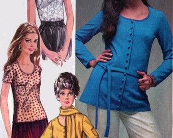 Vintage 1970s Scooped Neckline Blouse Sewing Pattern w/ 1960's Seventeen magazine model, Colleen Corby Simplicity 8697 Size 14 Bust 3