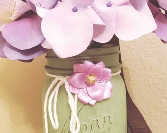 Painted Pint Mason Jar Decor - Rustic and Vintage Mason Jar