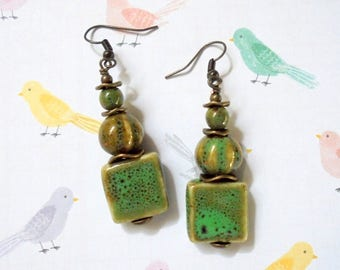 Rustic Green and Brass Ceramic Boho Earrings (3726)