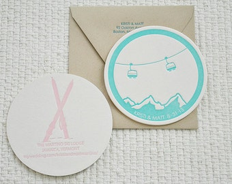Letterpress Coaster Save the Date: Ski Couple