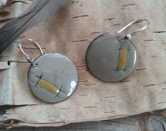 Torch fired enamel earrings in gray and gold