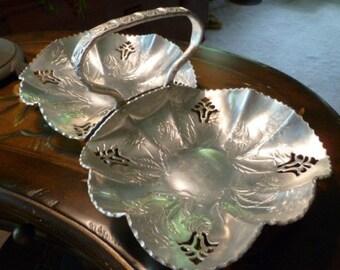 Hammered Aluminum Double Basket, Vintage Wedding Flower Girl Basket, Farber Shevlin Floral Aluminum Serving Basket
