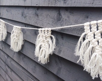 Modern Macrame Bunting, Macrame Garland, Wedding Bunting, Wedding Garland, Recycled Cotton, Eco Decor, Macrame,Nursery Decor, Bohemian Decor