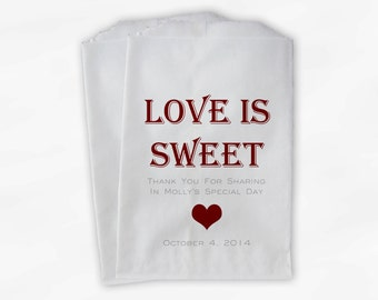 Love Is Sweet Bridal Shower Candy Buffet Treat Bags - Personalized Favor Bags in Dark Red and Gray - Set of 25 Custom Paper Bags (0167)