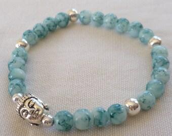 Buddha bracelet,buddha beaded bracelet,handmade,gift,buddhist jewellery,buddha jewelry,stretch bracelet,spiritual jewellery,buddha head