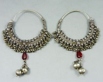 Old Indian earrings called bali, silver indian jewelry, jewellery from Himachal Pradesh, ethnic tribal jewelry, indian ethnic silver