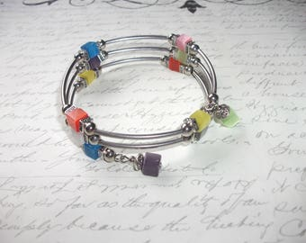 Multicolor cubes memory wire bracelet with silver tubes