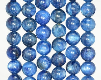 8mm Blue Kyanite Gemstone Grade AAA Blue Round Loose Beads 7 inch Half Strand (80005731-346)