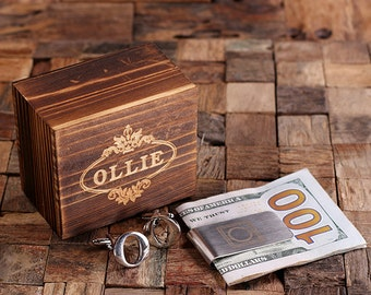 """Initial """" O """" Personalized Men's Classic Cuff Link & Money Clip with Wood Box Monogrammed Engraved Groomsmen, Best Man, Father's Day Gift"""