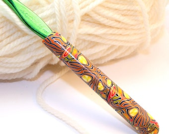 Polymer clay crochet hook, Susan Bates new size K10.5/6.50mm, handmade design
