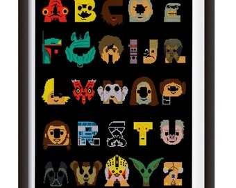 Star Wars ABC Cross stitch pattern /Alphabet/School ABCs/pdf /pattern instant /darth vader pixel/Gift /Instant download PDF//f1
