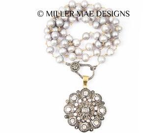 Rose Cut Diamond Pendant Necklace | Grey Pearl Necklace | Pave Diamond Pendant Necklace | Polki Diamond Necklace | Diamond Flower Necklace