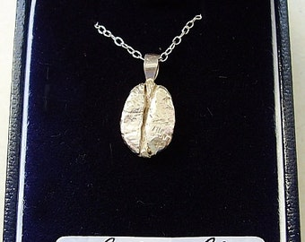 Sterling Silver Coffee Bean Pendant With Sterling Silver  18inch Chain In Presentation Box