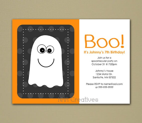 halloween ghost themed birthday party invitation