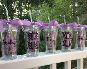 1 Chevron Personalized Monogrammed Bride and Bridesmaid Acrylic Double-Wall BPA-free Tumbler