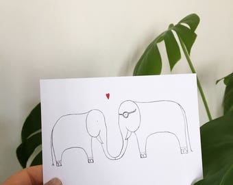 Elephants In Love Postcard