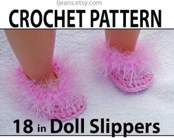 18 inch  American Girl Doll Crochet Fun Fur  Slippers