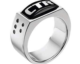 """J142 - CTR Ring Stainless Steel """"Illusion"""""""