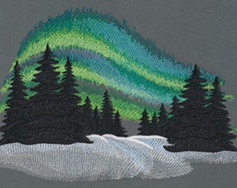 Aurora Borealis Cushion Cover Embroidered Pillow Case Northern Lights Australis. Gift for her. Gift for Mum. Gift for Mom
